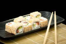 Japanese Seafood Sushi , Roll Set Stock Image