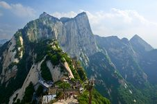 Overlook The Caer Cliff_Hua Mountain_xian_shanxi Royalty Free Stock Photo