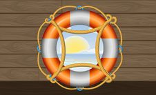 Free Orange Lifebuoy With Stripes And Rope On The Deck Stock Image - 31575751
