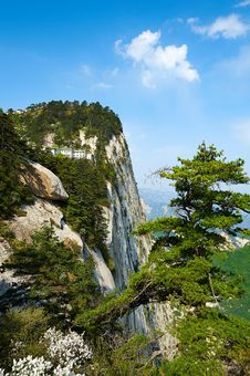 The Buildings On The Cliff_Hua Mountain_xian Stock Images
