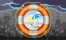 Free Orange Lifebuoy With Stripes And Rope As Vacation Symbol Royalty Free Stock Image - 31578216
