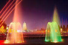 Free The Color Fountain_the Wild Goose Pagoda_north Squ Stock Image - 31578401