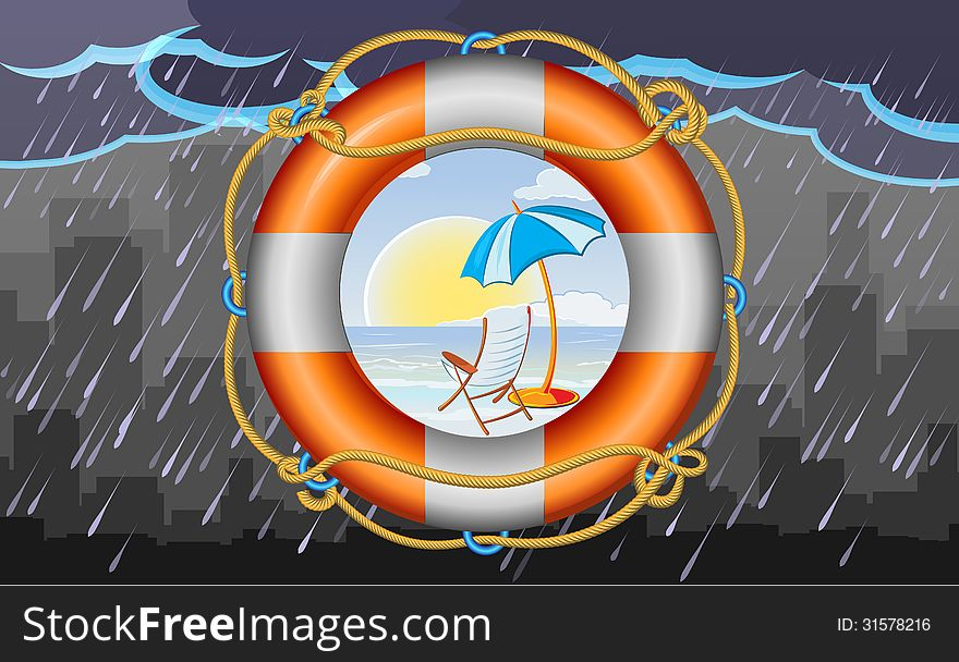 Orange lifebuoy with stripes and rope as vacation symbol