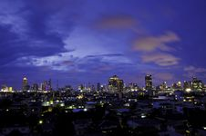 Aerial View Of Bangkok City Skyline At Night. Thailand. Stock Photography