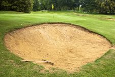 Free Golf Course Bunker With Rake Royalty Free Stock Photo - 31585455