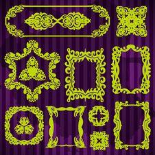 Free Set Decorative Vintage Frames Royalty Free Stock Images - 31586029