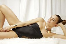 Beautiful And Sexy Woman Wearing Black Lingerie Stock Images