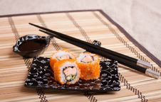 Rolls With Salmon And Caviar On Kappelana Stock Photo