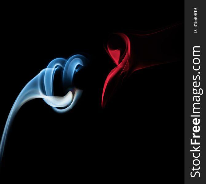 Abstract imaginative cigarette smoke shape on black
