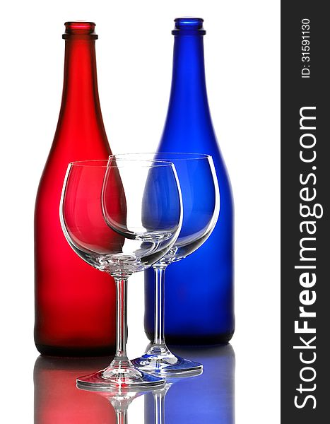 Color wine bottles and wine glasses