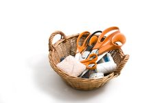 Basket With Scissors Stock Photo