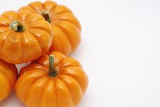 Free Pumpkins Over White Background Royalty Free Stock Photography - 3161157