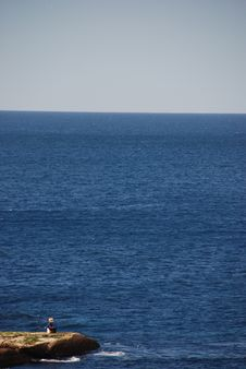 Free Small Fisherman In Big Ocean Royalty Free Stock Image - 3161316