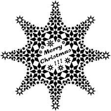 Filigree Star Black Merry Xmas Stock Photo