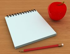 Free Pencil , Notepad And Apple Stock Images - 3163174