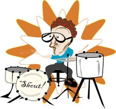 Drummer In The Band Royalty Free Stock Photo