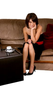 Free Woman Waiting On Couch Royalty Free Stock Photo - 3164555