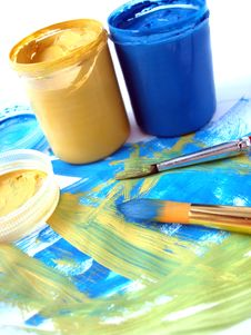 Blue And Yellow Paint Jar Stock Photos
