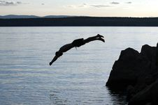 Free Silhoutte Of A Jumping Man Stock Image - 3166301
