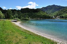 Free Lago Di Ledro With Hotel, Italy Royalty Free Stock Image - 31602216