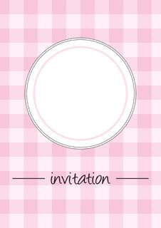 Retro Pink Vector Card Or Invitation With Checkere Stock Photo