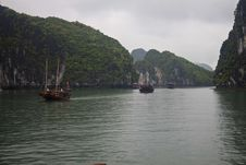 Boats In Halong Bay Stock Photos