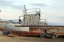 Old Rusty Ship On The Shore Of Lake Baikal, Olkhon Island Stock Images