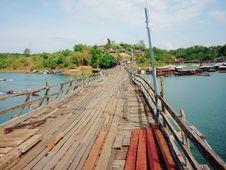 Wooden Mon Bridge  Thai Architecture Royalty Free Stock Image