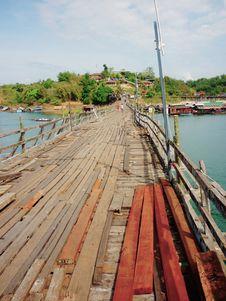 Wooden Mon Bridge  Thai Architecture Royalty Free Stock Photos
