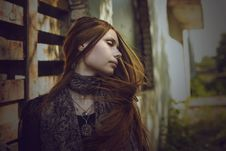 Beautiful Romantic Girl With Long Hair In The Village Royalty Free Stock Images
