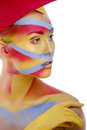 Free Woman With Creative Geometry Make Up, Tree Color Red, Yellow, Blue Royalty Free Stock Images - 31635649