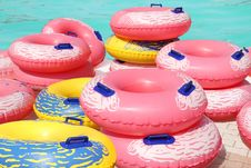 Free Colorful Inflatable Swim Rings Royalty Free Stock Photo - 31634975