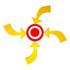 Four Arrow To The Target Stock Images