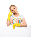 Free Happy Young Housewife In Glove With White Empty Billboard Isolat Royalty Free Stock Photo - 31642525