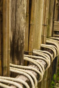 Free Rope Tied To A Bamboo Fence. Stock Images - 31642384