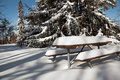 Free The Picnictable Under Deep Layer Of Snow In The Park Stock Photo - 31653420