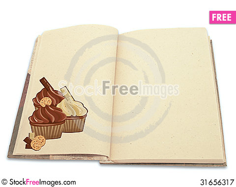 Free Recipe Book Illustrated With Cupcakes Royalty Free Stock Photography - 31656317