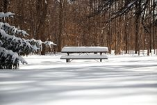 Free The Picnictable Under Deep Layer Of Snow In The Park Stock Image - 31653411