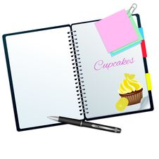Recipe Book Illustrated With Lemon Cupcake Stock Photo