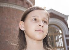 Free Portrait Of The Girl Against A Cathedral. Stock Images - 31658344