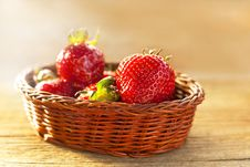 Strawberries In Baskets Stock Photography