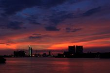Free Bhumibol  Bridge  Area At Twilight5 Royalty Free Stock Photography - 31663477
