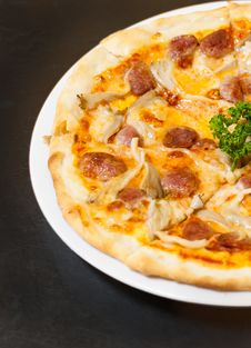Italian Pork Sausage Pizza Royalty Free Stock Photography