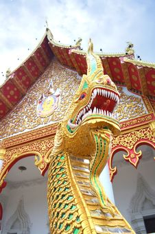 King Of Nagas Protect Temple Stock Photo