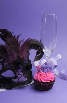 Purple Masquerade Party Decorations - Vertical Royalty Free Stock Image