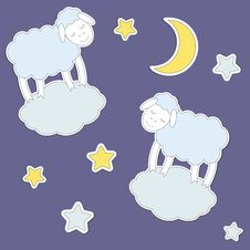 Cute Sheep,moon And Stars Royalty Free Stock Photos