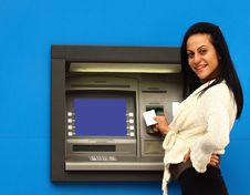 Free Woman Withdraw Money From Atm Royalty Free Stock Image - 31678906