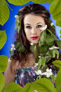 Free Beautiful Glamour Girl In Leafs Frame With Flowers In Hair Royalty Free Stock Photos - 31681458