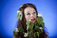 Free Beautiful Girl With Flowers. Professional Make Up, Glamour Skin, Stock Photography - 31681462