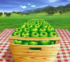 Green Apples In A Wooden Box On A Table, With Landscape And Apple-trees At The Background. Stock Photo